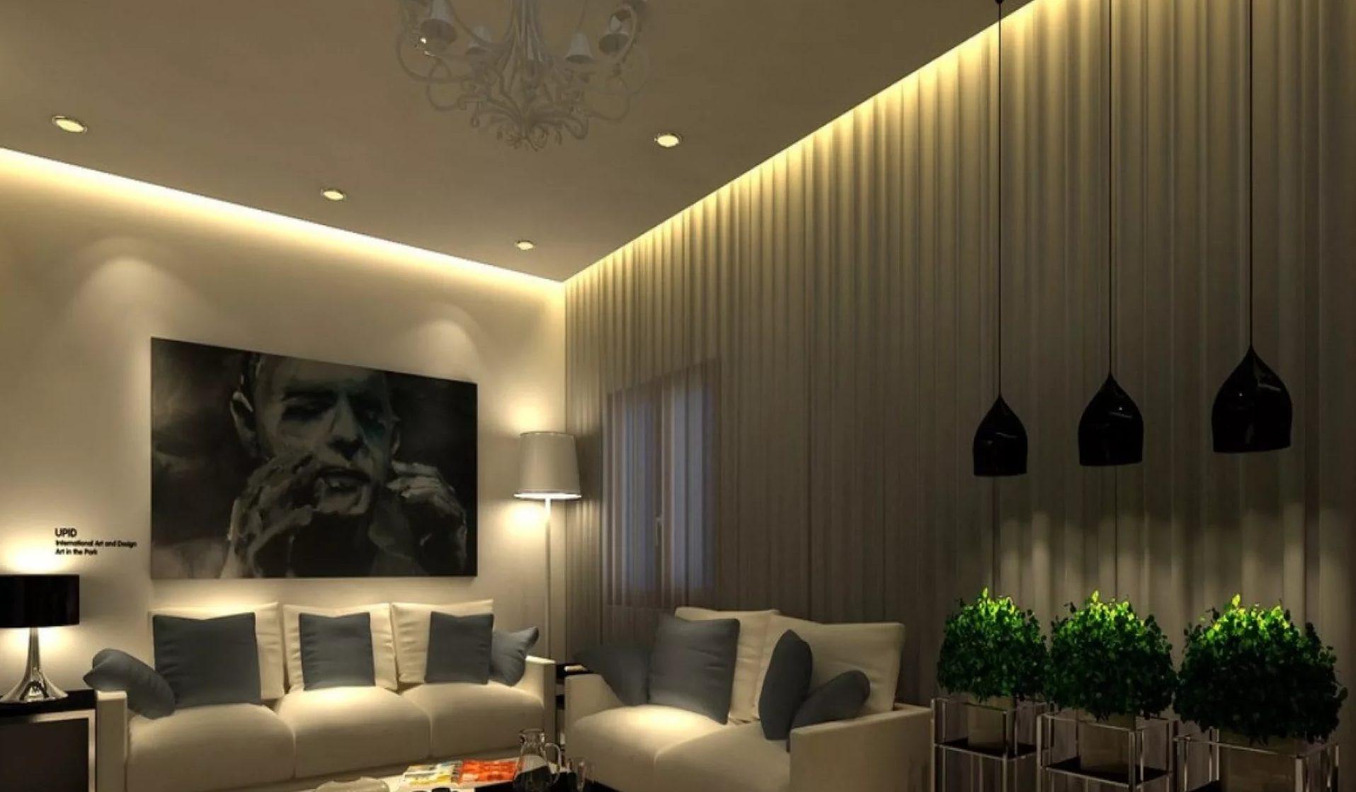 парящий натяжной потолок в гостиной
