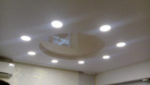 круглый глянцевый натяжной потолок