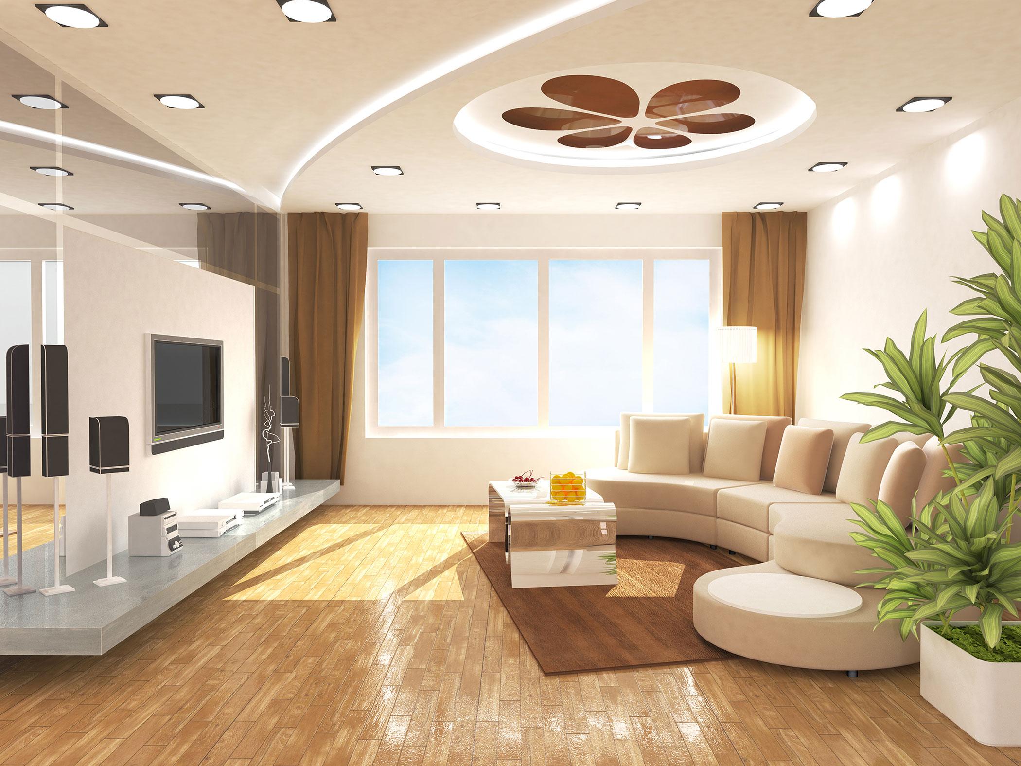 эксклюзивный натяжной потолок в гостиной