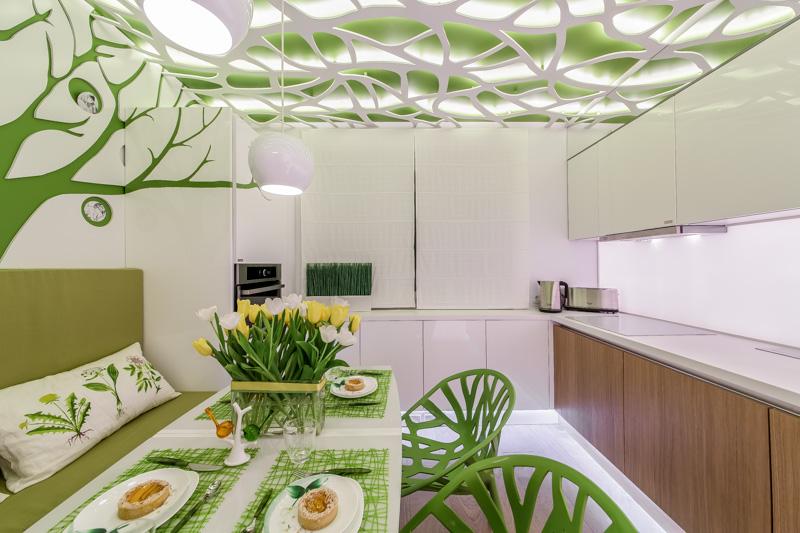 эксклюзивный натяжной потолок на кухне