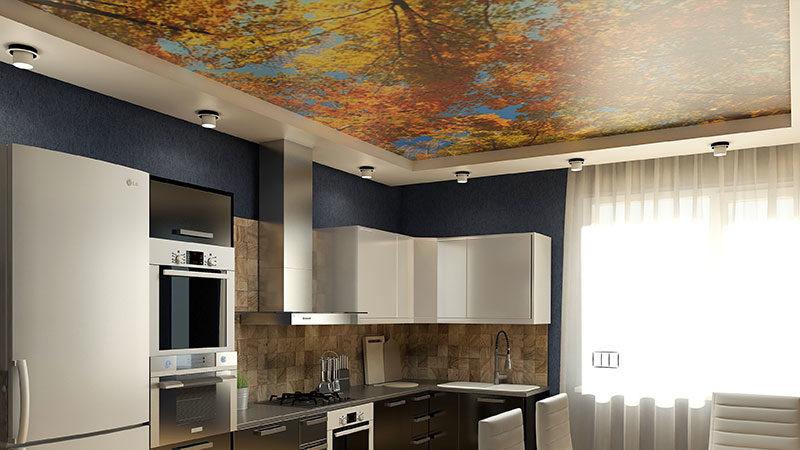 фотопечать на потолках для кухни
