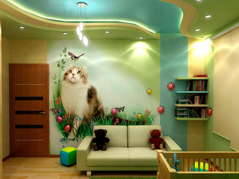 многоуровневый потолок в детской комнате