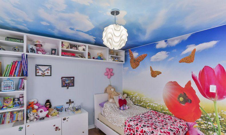 натяжной потолок небо с облаками в детской