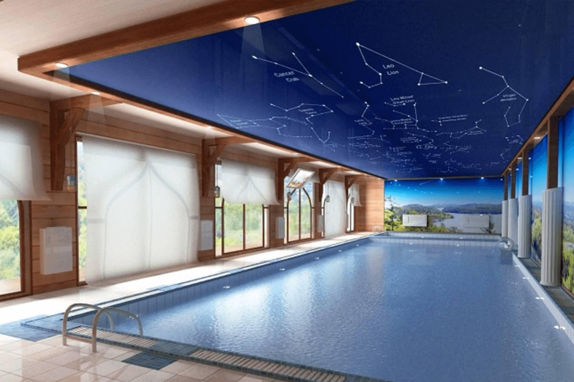 натяжной потолок созвездия в бассейне