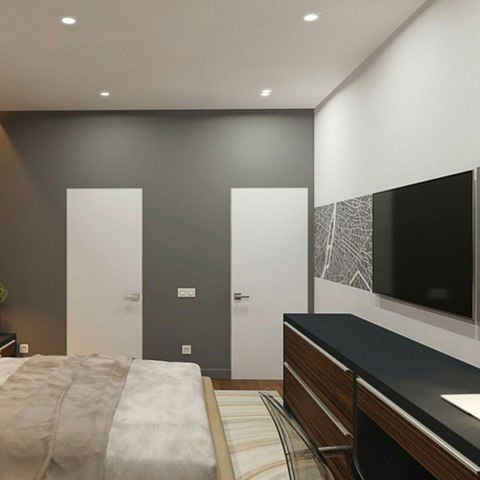теневой натяжной потолок в спальне